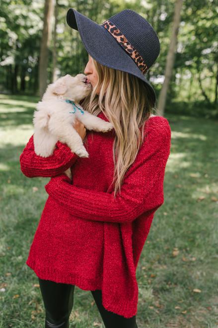 Drop Sleeve Slouchy Sweater - Ruby