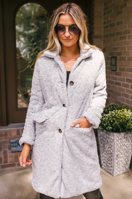 Button Down Sherpa Pocket Coat - Light Grey