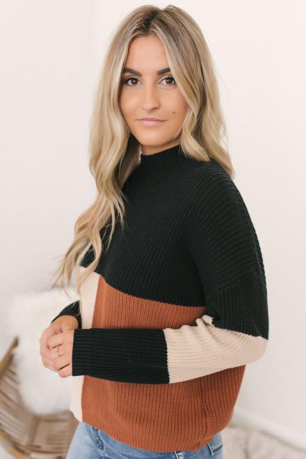 Campfire Colorblock Sweater - Black/Rust/Natural