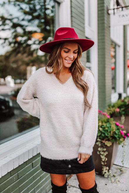 V-Neck Fuzzy Soft Sweater - Taupe - FINAL SALE