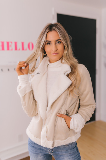 Faux Suede Asymmetrical Jacket - Taupe