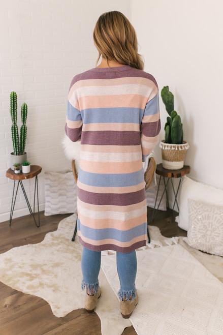 Eye Candy Striped Pocket Cardigan - Pastel Multi