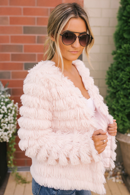 Paris Tiered Fringe Jacket - Light Blush