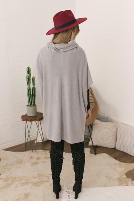 Cowl Neck Soft Brushed Poncho - Grey