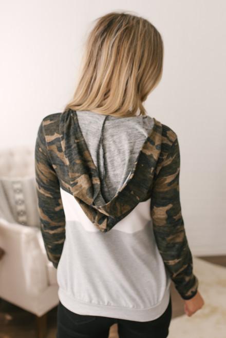 Half Zip Camo Colorblock Pullover - Multi