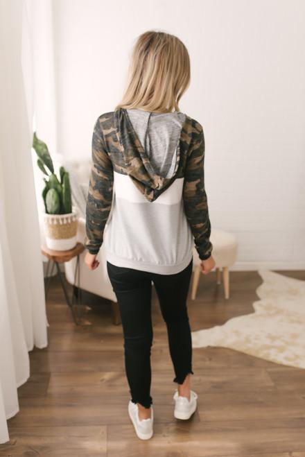 Half Zip Camo Colorblock Pullover - Multi  - FINAL SALE