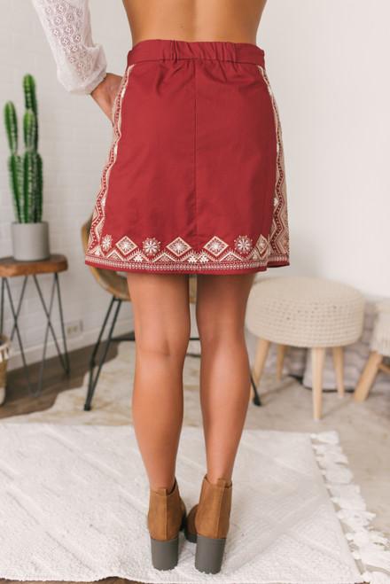 Spiced Cider Embroidered Skirt - Cinnamon - FINAL SALE