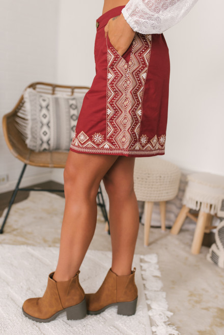 Spiced Cider Embroidered Skirt - Cinnamon