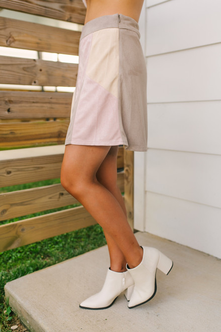 Faux Suede Patchwork Skirt - Blush Multi