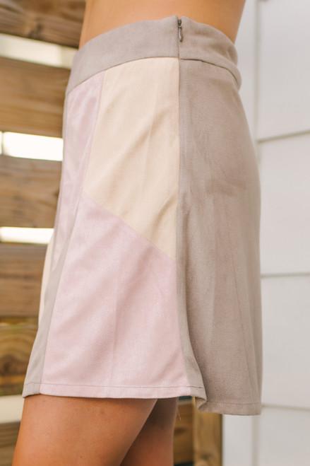 Faux Suede Patchwork Skirt - Blush Multi  - FINAL SALE