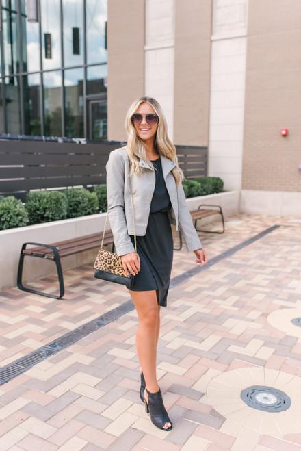 3/4 Sleeve Asymmetrical Draped Hem Dress - Black  - FINAL SALE