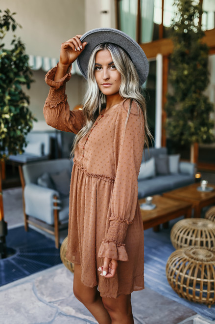 Button Down Dotted Babydoll Dress - Camel Rust