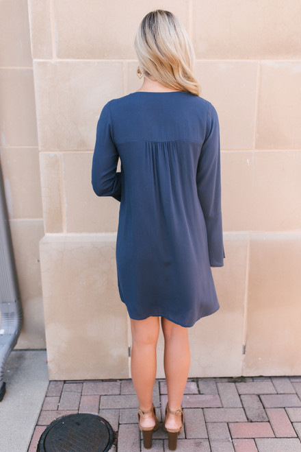 Metallic Embroidered Shift Dress - Midnight Blue/Gold - FINAL SALE