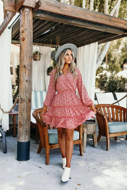Surplice Ruffle Hem Printed Dress - Rust