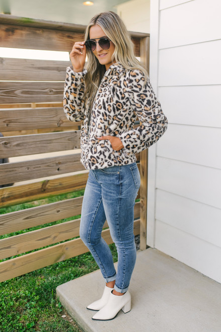 Wild Side Zip Up Leopard Jacket - Beige Multi