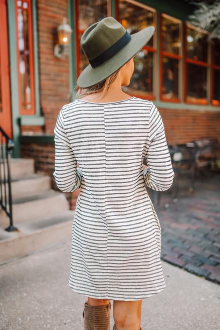 Roll Tab Striped Pocket Dress - White/Black
