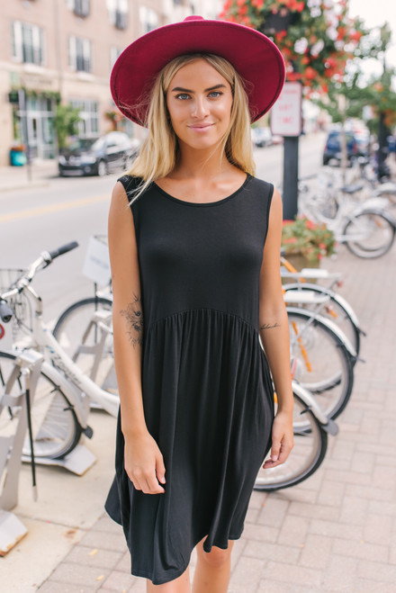 Soft Bamboo Babydoll Dress - Black - FINAL SALE