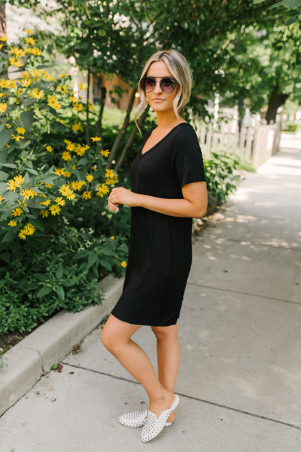 V-Neck Soft Bamboo T-Shirt Dress - Black  - FINAL SALE