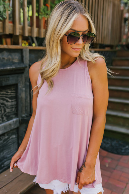 Soft Bamboo Racerback Pocket Tank - Dusty Pink - FINAL SALE