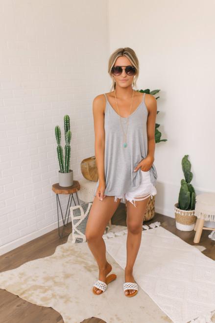 V-Neck Soft Bamboo Swing Tank - Heather Grey - FINAL SALE