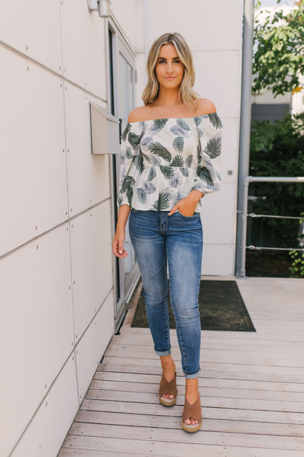 Off the Shoulder Smocked Leaf Top - Sage Multi  - FINAL SALE