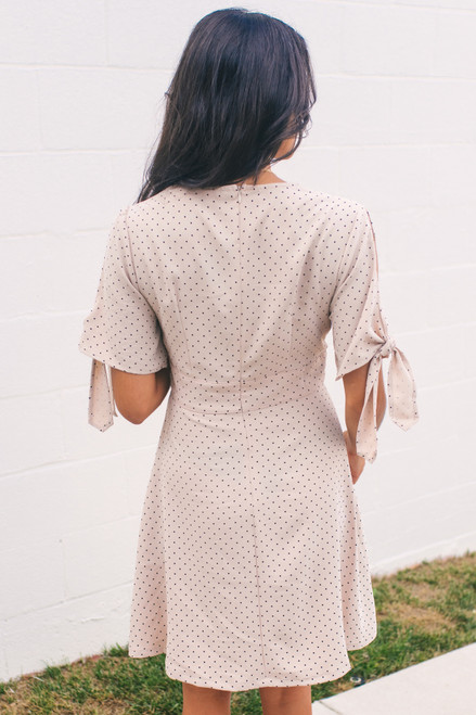 Tie Sleeve Button Down Dotted Dress - Natural/Black