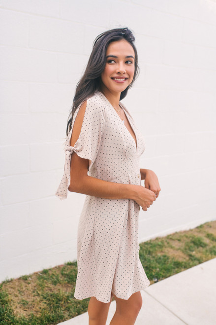 Tie Sleeve Button Down Dotted Dress - Natural/Black - FINAL SALE