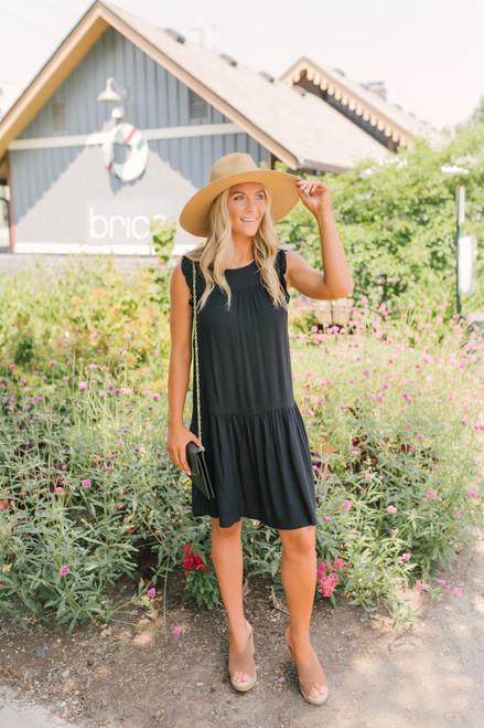 Ruffle Detail Tiered Textured Dress - Black - FINAL SALE