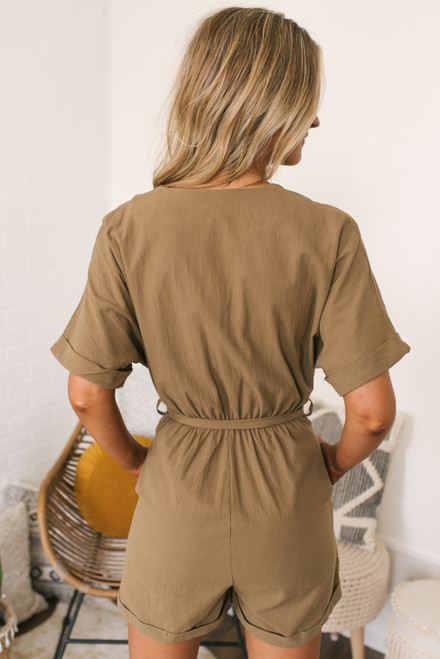 Button Down Tie Waist Romper - Khaki Olive- FINAL SALE