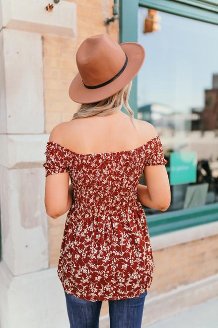 Off the Shoulder Smocked Floral Top - Sienna/Cream