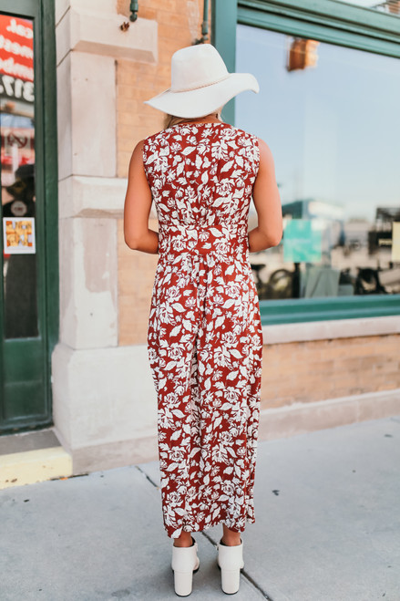 Button Down Floral Midi Dress - Sienna/Ivory- FINAL SALE
