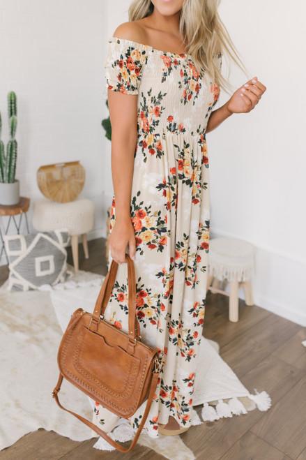 Off the Shoulder Smocked Floral Dress - Sand Multi