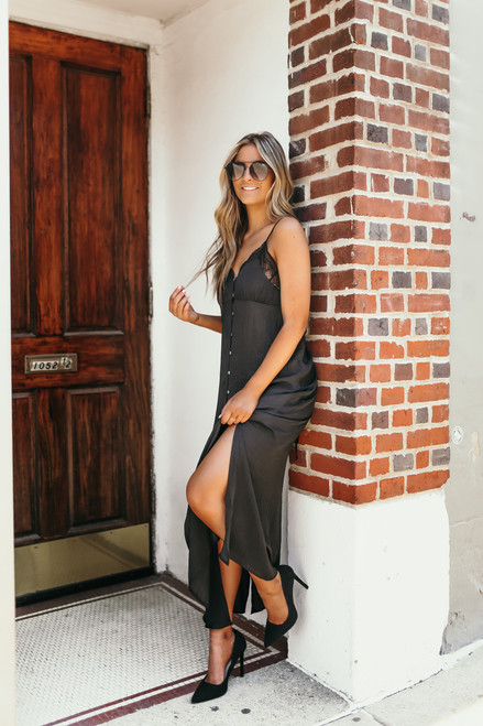 Lace Detail Button Down Satin Maxi - Black - FINAL SALE