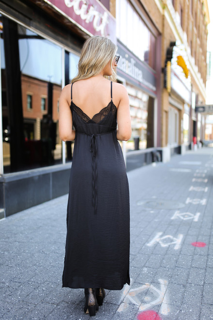 Lace Detail Button Down Satin Maxi - Black