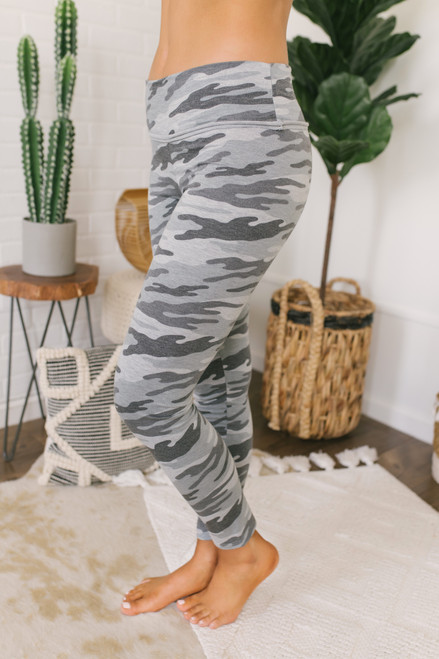 French Terry Camo Leggings - Grey Multi