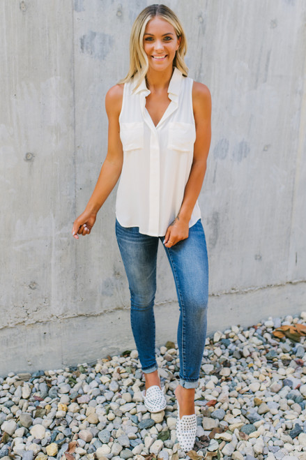 Button Down High Low Pocket Tank - Ivory