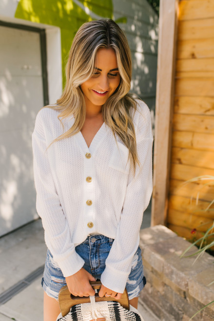 Button Down Brushed Waffle Cardi Top - Ivory  - FINAL SALE