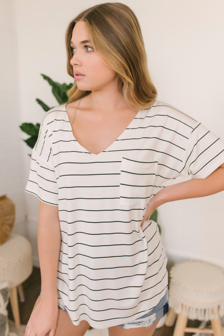 V-Neck Drop Sleeve Striped Pocket Tee - White/Black - FINAL SALE