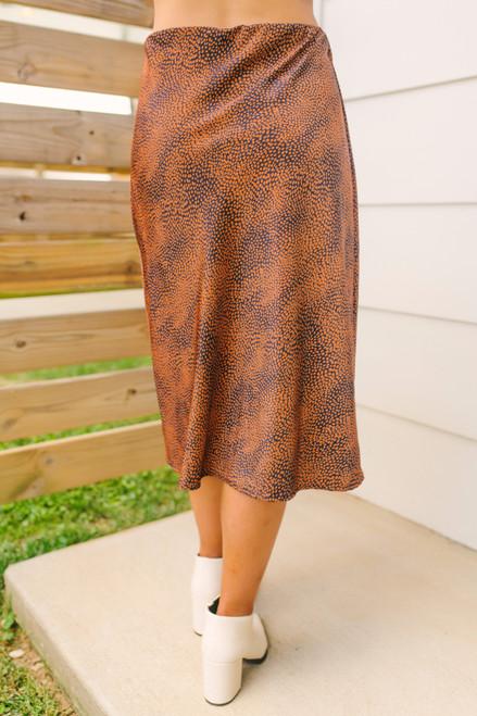 Front Slit Cheetah Midi Skirt - Rust/Navy - FINAL SALE