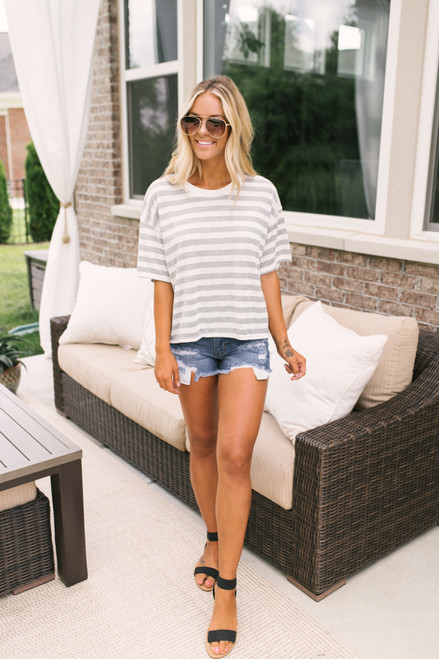 Last Summer Boxy Striped Ringer Tee - Grey/Ivory