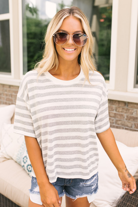 Last Summer Boxy Striped Ringer Tee - Grey/Ivory - FINAL SALE