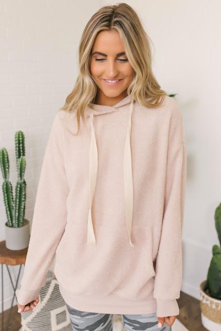 Drawstring Textured Fleece Hoodie - Natural