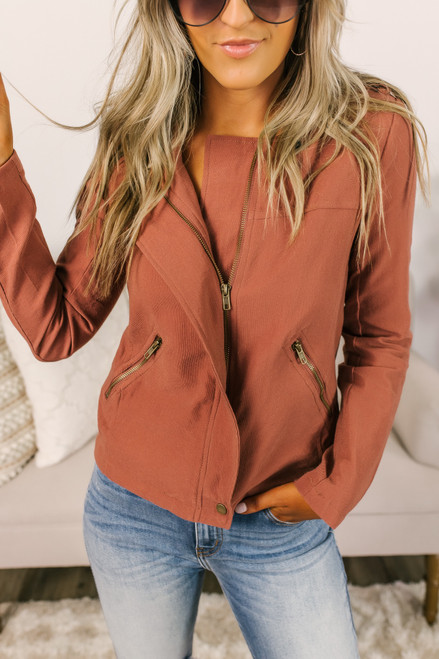 Quilted Detail Moto Jacket - Mauve Rust