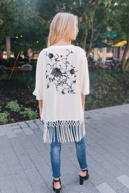 Floral Embroidered Fringe Kimono - White/Black - FINAL SALE