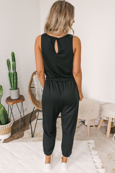 French Terry Drawstring Jumpsuit - Black - FINAL SALE