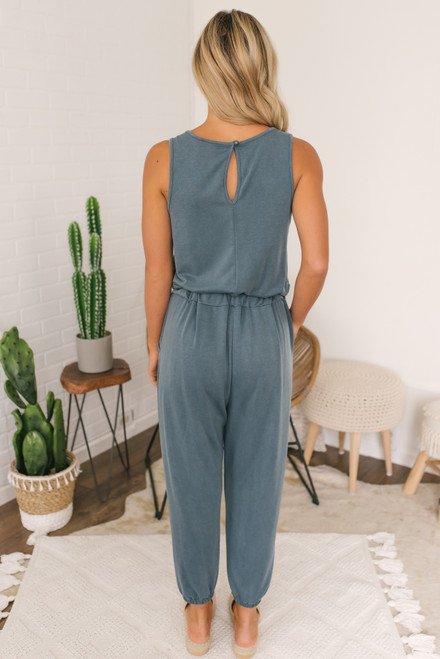 French Terry Drawstring Jumpsuit - Teal Slate - FINAL SALE