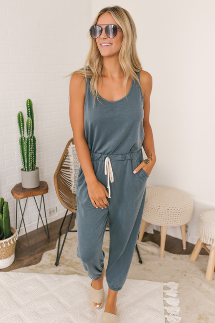 French Terry Drawstring Jumpsuit - Teal Slate