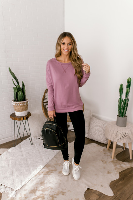 French Terry Pullover - Dusty Lavender