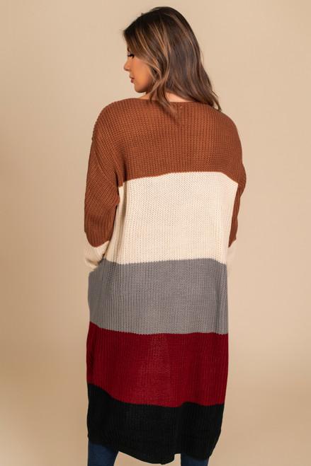 Colorblock Pocket Cardigan - Rust/Ivory/Grey/Red/Black