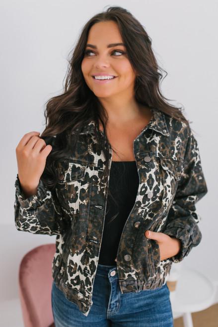 Brooklyn Leopard Denim Jacket - Brown Multi